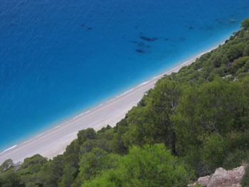 Lefkada - Egremni beach seen from above.